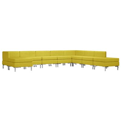 vidaXL 9-delig Bankstel stof geel