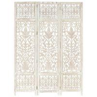 vidaXL Kamerscherm met 3 panelen handgesneden 120x165 cm mangohout wit