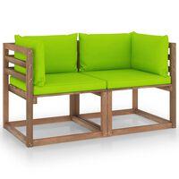 vidaXL Tuinbank 2-zits pallet met heldergroene kussens grenenhout