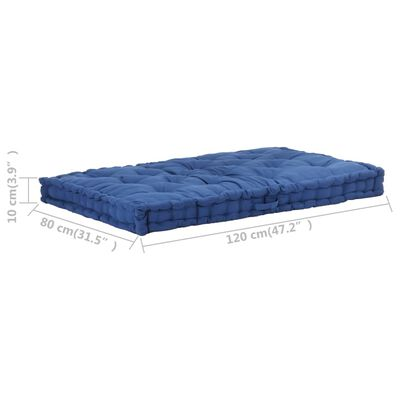 vidaXL Palletvloerkussen 120x80x10 cm katoen lichtblauw