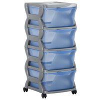 vidaXL Ladekast op wielen 36x40x80 cm grijs en blauw
