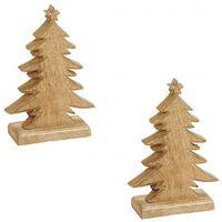 2x Kerstdecoratie Houten Kerstbomen / Kerstboompjes 20 Cm -