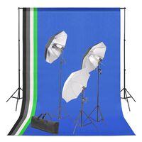 vidaXL Fotostudioset met achtergrond en verlichtingsset
