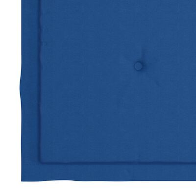 vidaXL Eetkamerstoelen 4 st met koningsblauwe kussens massief teakhout