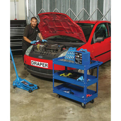 Draper Tools Gereedschapstrolley 3-laags blauw