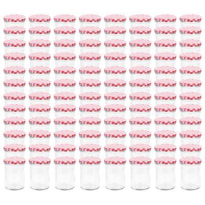 vidaXL Jampotten met wit met rode deksels 96 st 400 ml glas