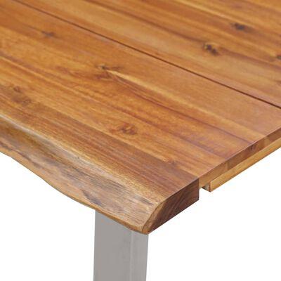 vidaXL Eettafel 120x65x75 cm massief acaciahout en roestvrij staal