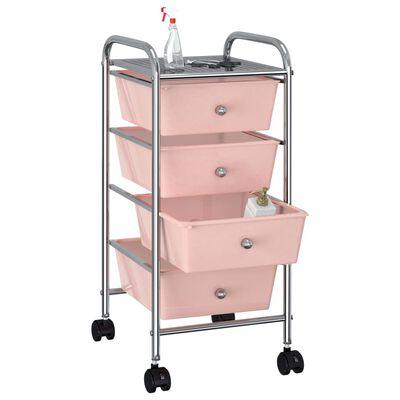 vidaXL Opbergtrolley met 4 lades mobiel kunststof roze