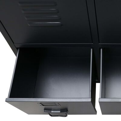 vidaXL Kledingkast industriële stijl 67x35x107 cm metaal zwart