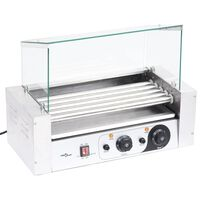vidaXL Hotdog grill 5 rollers met glazen afdekking 1000 W