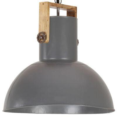 vidaXL Hanglamp industrieel rond 25 W E27 52 cm mangohout grijs