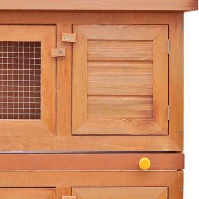 vidaXL Konijnenhok voor buiten met 4 deuren hout