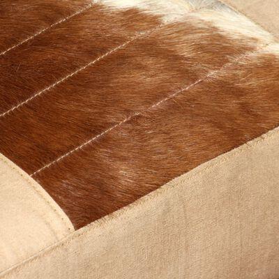 vidaXL Loungestoel echt geitenleer en canvas crème