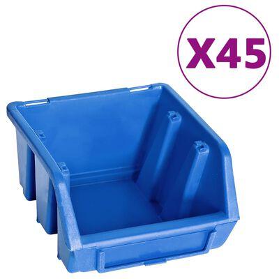 vidaXL 48-delige Opslagbakkenset met wandpanelen blauw en zwart