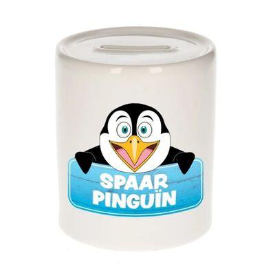 Kinder spaarpot met spaar pinguin opdruk - keramiek - pinguins