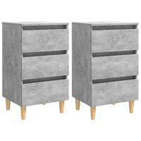 vidaXL Nachtkastjes 2 st met houten poten 40x35x69 cm betongrijs