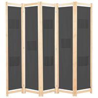 vidaXL Kamerscherm met 5 panelen 200x170x4 cm stof grijs