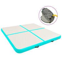 vidaXL Gymnastiekmat met pomp opblaasbaar 200x200x20 cm PVC groen