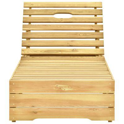 vidaXL Ligbed met grijs kussen geïmpregneerd grenenhout