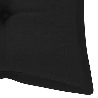 vidaXL Schommelbank met zwart kussen 170 cm massief teakhout