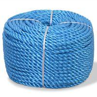 vidaXL Touw gedraaid 10 mm 250 m polypropyleen blauw