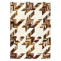 vidaXL Vloerkleed patchwork 80x150 cm echt harig leer bruin/wit