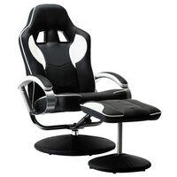 vidaXL Racestoel verstelbaar met voetenbankje kunstleer wit