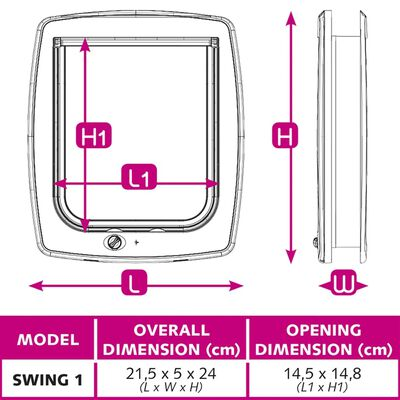Ferplast Kattenluik Swing 1SB handmatig 2-standen wit 72101011