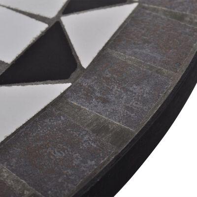 vidaXL Bistrotafel 60 cm mozaïek zwart en wit