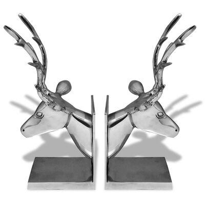 vidaXL Boekensteunen herten 2 stuks aluminium zilver