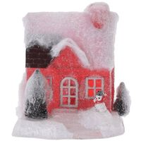 Rood kerstdorp huisje 18 cm type 1 met LED verlichting - Kerstdorp