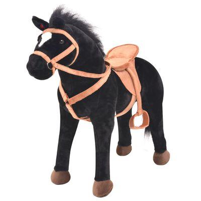vidaXL Staand knuffelpaard pluche zwart