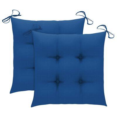 vidaXL 3-delige Bistroset met blauwe kussens massief teakhout