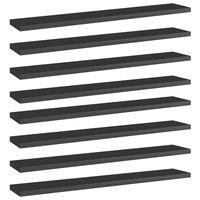 vidaXL Wandschappen 8 st 60x10x1,5 cm spaanplaat hoogglans zwart