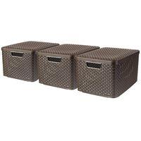 Curver Opbergbox met deksel Style 3 st maat L bruin 240651