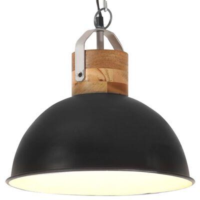 vidaXL Hanglamp industrieel rond E27 32 cm massief mangohout zwart