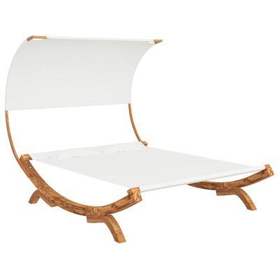 vidaXL Hangmat met luifel 165x210x155 cm massief vurenhout crèmekleur