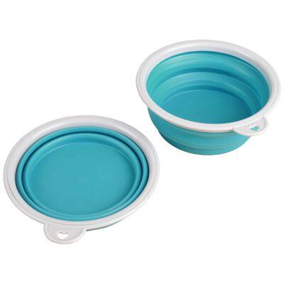 FLAMINGO Huisdierenreisbeker 2-in-1 Trinka blauw en grijs