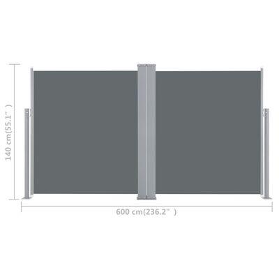 vidaXL Windscherm uittrekbaar 140x600 cm antraciet