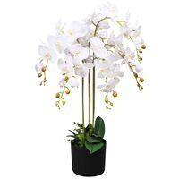 vidaXL Kunstplant met pot orchidee 75 cm wit