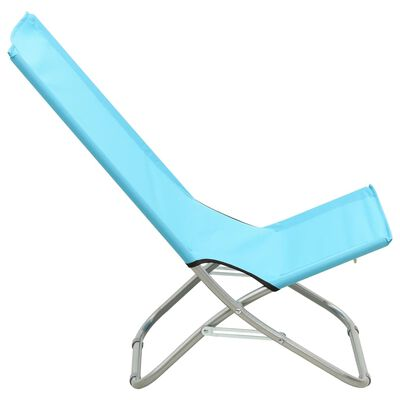 vidaXL Strandstoelen 2 st inklapbaar stof turquoise