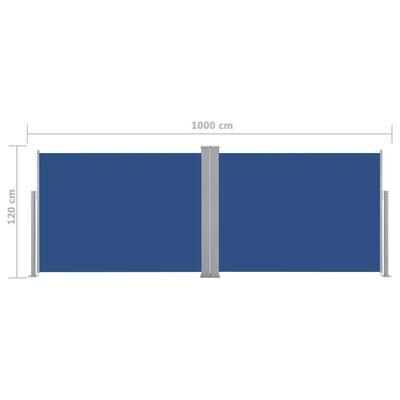 vidaXL Windscherm uittrekbaar 120x1000 cm blauw