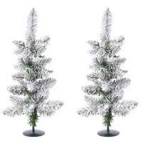 2x Groene Kunst Kerstbomen/kerstboompjes 60 Cm Met Sneeuw En Voet-