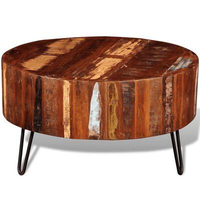 vidaXL Salontafel rond massief gerecycled hout